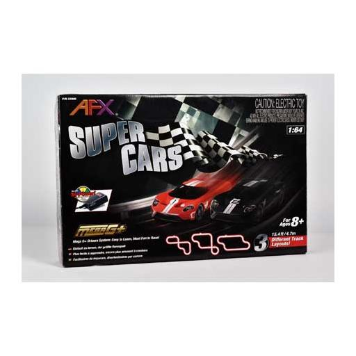 AFX/Racemasters Super Cars Set;15ft Track,Mega G+ Chassis,Tri-Pack