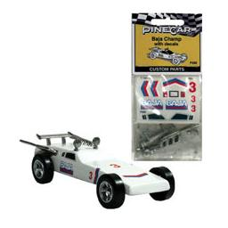 Click here to learn more about the Pinecar Custom Parts w/Decals, Baja Champ.
