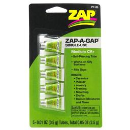 Click here to learn more about the ZAP Glue Zap-A-Gap Single Use Tubes, 5 x 1/2 g, Carded.