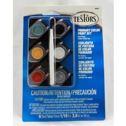 Click here to learn more about the Testor Corp. 1/10oz,  Acrylic Pots, 6pk, Primary Colors.
