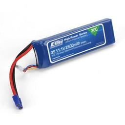 Click here to learn more about the E-flite 2500mAh 3S 11.1V 30C LiPo, 12AWG EC3.