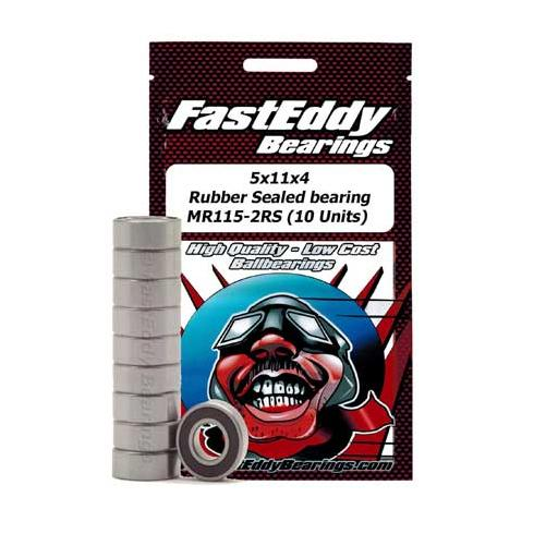 FastEddy Bearings 5x11x4 Rubber Sealed Bearing MR115-2RS (10 Units)