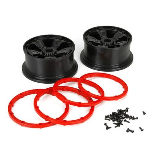 Losi Wheel/Beadlock, Black (2): 1:5 4wd  DB XL