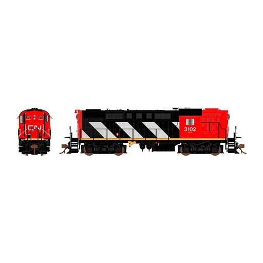 Rapido Trains Inc. HO RS18 w/DCC & Sound, CN/Stripes #3117