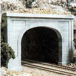 Click here to learn more about the Woodland Scenics N Double Tunnel Portal, Concrete (2).