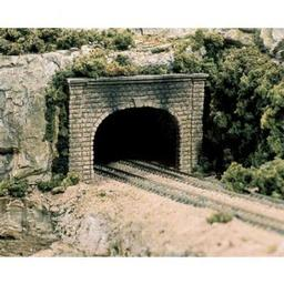 Click here to learn more about the Woodland Scenics N Double Tunnel Portal, Cut Stone (2).