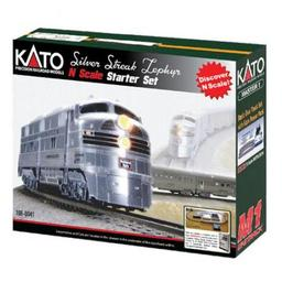 Click here to learn more about the Kato USA, Inc. N Silver Streak Zephyr Starter Set, CB&Q.