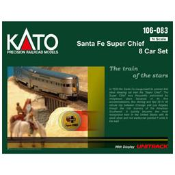Click here to learn more about the Kato USA, Inc. N Passenger Car Set, SF/Super Chief (8).