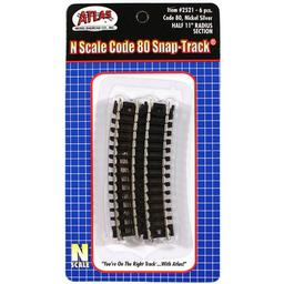 "Click here to learn more about the Atlas Model Railroad N Code 80 11"" Radius 1/2 Curve (6)."