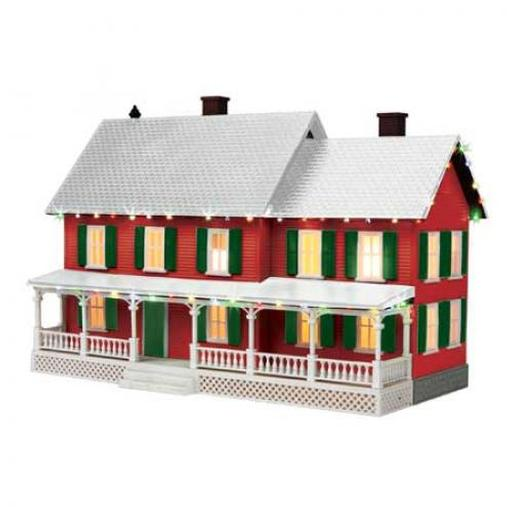 M.T.H. Electric Trains O #4 Country House w/Operating Christmas Light,Red