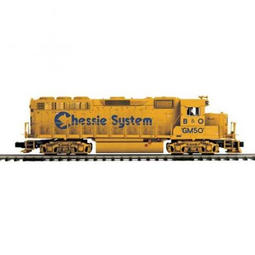 M.T.H. Electric Trains O Scale GP40 w/PS3, Chessie #GM50