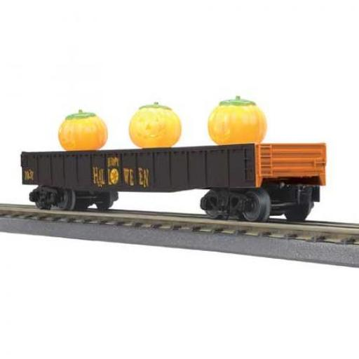 M.T.H. Electric Trains O-27 Gondola w/Flickering Jack-O-Lanterns