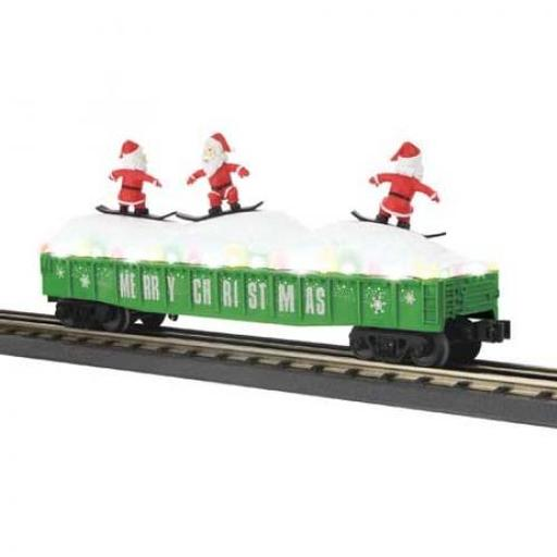 M.T.H. Electric Trains O-27 Gondola/Green w/Christmas Light & SkiingSanta