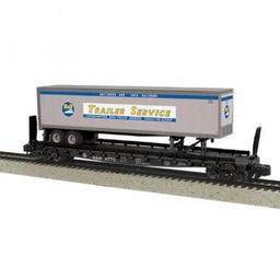 Click here to learn more about the M.T.H. Electric Trains S Flat w/48'' Trailer, B&O #8775.